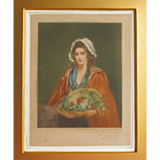 Proof Mezzotint 'The Salad Girl' signed by E M Hester after John Hoppner RA A Georgian Beauty