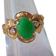 Cabachon Cab Jade, Diamond & 18ct Gold Late Art Deco Ring