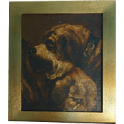 Mid 19th C Oil on Canvas Study of Two Dogs Poss St Bernards Oil