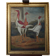 English Naive School Mid 19th C Bantams Chicken Poultry Chickens Hen Hens Oil on Canvas