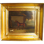 Antique English School Georgian Oil on Canvas Horse Dog Stable Horses