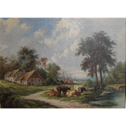 Antique English School c.1860 Pastoral Scene Farm Oil on Canvas Gilt Frame