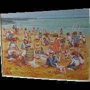 Gerrard Lants (Lants) 1927-1998 Australian Gouache 'Edwardian Beach Scene' Fl 1970s 1980s Dogs Dog