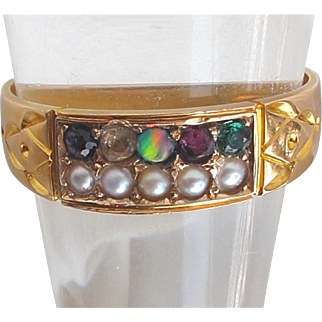 15ct Gold Antique ADORE Ring English Hallmarks for 1888 ADORE Amethyst Diamond Opal Ruby Emerald
