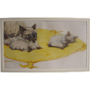 PUSHTI Kay Nixon - Original Watercolour watercolour of Siamese Cats Cat Kittens Kitten for the Book