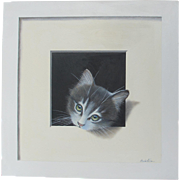 Trompe L'Oeil Kitten Alan Weston English 2016 Acrylic on Canvas Cat Contemporary