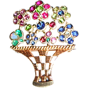 Mid 20th C 9ct Gold, Precious & Semi-Precious Gems Stones inc. Diamond, Ruby Opal Basket of Flowers Pin Brooch