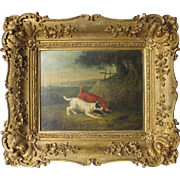Georgian Oil on Canvas Dog Dogs on the Scent Original Swept Gilt Frame Terrier Hounds Hound Terriers