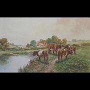 Large English Pastoral Watercolour 1920s Parr Cattle Cows