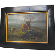 English School 19th Century Highland Cattle (Cows) Oil on Board