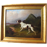 Colin Graeme Roe 1858-1910 Oil on Canvas Hunting Dog Antique English