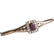 15ct Gold Bangle with HUGE 2 ct Almandine Garnet surrounded by .7 ct of Old Cut Diamonds Antique
