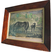 RARE Antique 18th C Mezzotint of English Horse Thoroughbred Bloodstock Miss Slamerkin & Othello Horses - Red Tag Sale Item