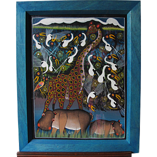 Tinga Tinga School East African Painting of Giraffe Hippo Hippopotamus & Birds by Fussi Late 20th Century
