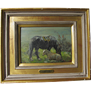 George Smith RSA 1870-1934 Mare & Foal Horse Oil on Board English Scottish c.1900-1930 Much Listed.