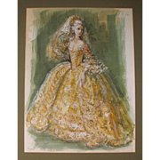 Carl Toms 1927-99 Watercolour 'The Countess' for The Marriage of Figaro at The New York City Opera 75/76