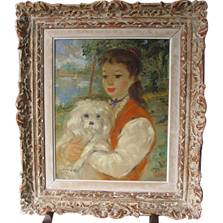 French Impressionistic Oil on Canvas Girl & Dog by Leroux Mid 20th Century