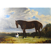 English Oil on Canvas Horse & Spaniel Dog in a Landscape Antique c. 1850