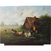 English Oil on Panel Hens Chickens Cockerel  Ray Jacob Listed Artist Mid 20th Century