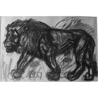 Large Charcoal Lion by Henry Saunders 1918-1982 German Jewish English Well Listed Expressionist