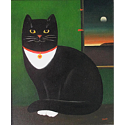 Martin Leman Black & White Cat Oil on Board Late 20th Century English