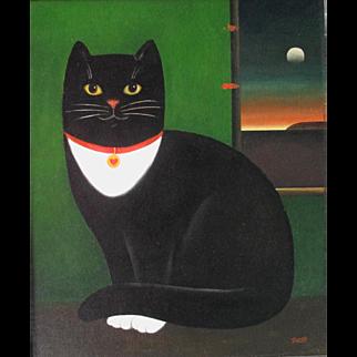 Martin Leman Black & White Cat Oil on Board Late 20th Century English
