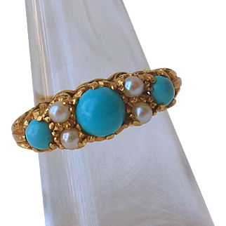 Antique English Ring 9ct Gold Turquoise & Pearl