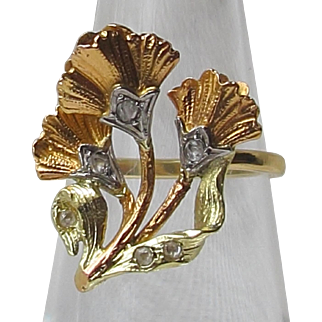 3 Colour white rose & yellow 9 ct Gold Flower Form Ring Antique