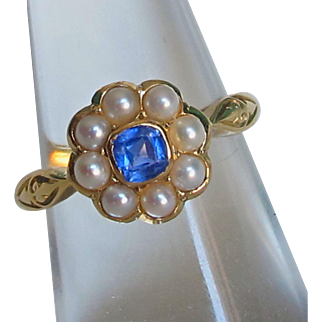 Antique 18ct Gold cornflower sapphire and pearl cluster Ring