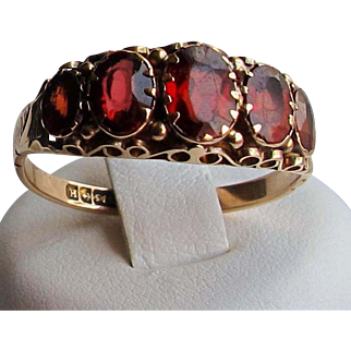 Victorian English Antique FIVE Stone Hessonite Garnet 9ct Gold Ring