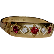 Classic Gypsy Set Vintage 18ct  Gold Diamond and Ruby Ring