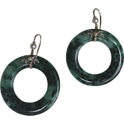 Pair Art Deco Large Jade & 9 ct Gold Hoop Earrings