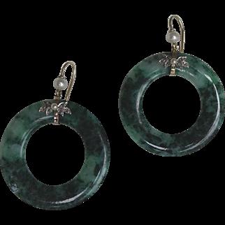 Pair Art Deco Large Jade & 9 ct Gold Hoop Earrings