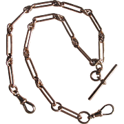 English Antique Victorian 9ct Rose Gold Double Fob Chain Necklace Choker