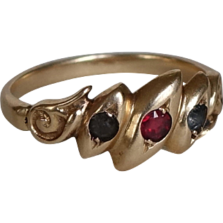 Antique 18ct Gold, Lapis and Ruby Ring