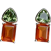 Late Art Deco Fire Opal aka Mexican Opal and Peridot & 18ct Gold Earrings Perfect