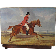 English Antique Horse at Flying Gallop Oil on Canvas 19th Century