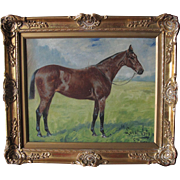 English Oil on Canvas of a Race Horse by Geo George Paice 1854-1924 Antique c. 1900