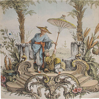 PAIR of Period Georgian Chinoiserie Prints Chinese Antique (Gall Image is only of ONE please see lisiting for images of both)