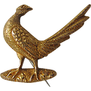 High Carat Gold Antique Pheasant Pin Brooch English