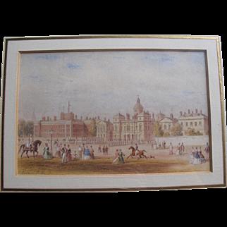 Antique 1802 English Watercolour Watercolor of Horseguards Parade London by Thomas Hosmer Shepherd 1792–1864 Georgian