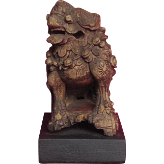 Chinese Antique Carved Wooden Dog of Fo, Lion dog Temple Lion Buddhist