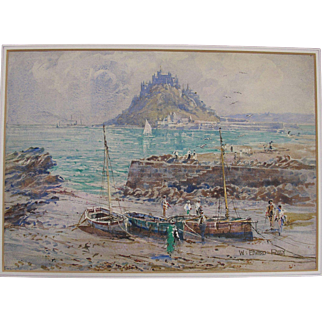 Watercolour Watercolor Edward William Riley RBA  English 1852-1937 Mont St Michel French