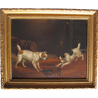 Antique English Oil on Board of Two Terriers