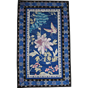 Large Exquisite Chinese Silk Embroidery c.1910-30 Butterfly & Flowers 20 1/2 by 12 1/4 inches