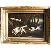 Antique English Georgianf Three Dogs Dog Spaniel Spaniels c 1800  Oil on Board in Original  Substantial Gilt Wood & Gesso Frame