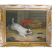 LARGE Antique Oil on Canvas Terrier Dog Chasing Mice Langlois Fl 1870-1890