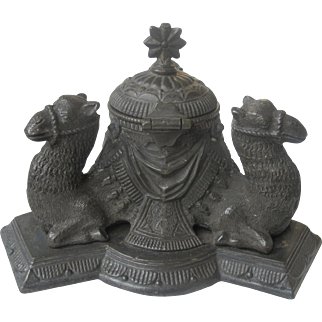 Heavy Victorian Cast Metal Inkwell Mounted with Three Camels