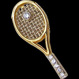 Antique High Carat Gold and Diamond Tennis Raquet Racket & Ball Unisex