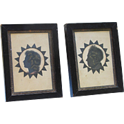 PAIR Antique Silhouettes Young Lady and Man in Ebonised Frames
